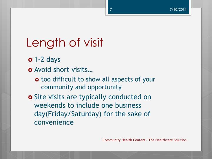 Length of visit