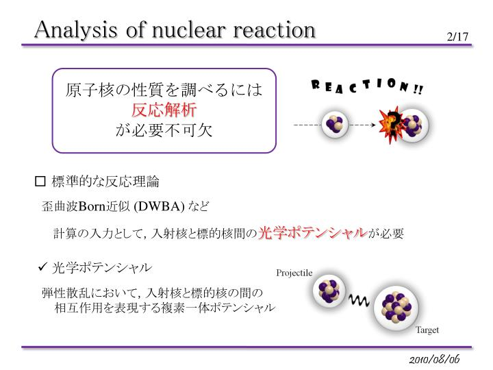 Analysis of nuclear reaction