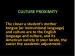 culture proximity