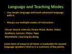language and teaching modes