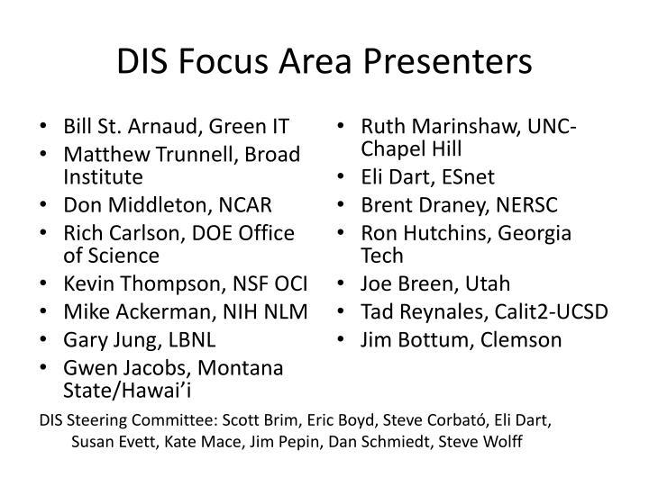 Dis focus area presenters
