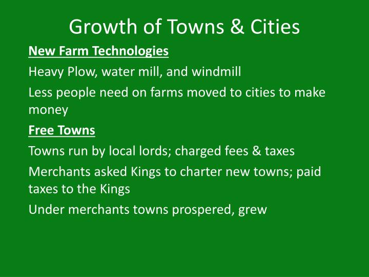 growth of towns cities n.