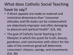 what does catholic social teaching have to say