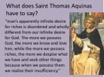 what does saint thomas aquinas have to say