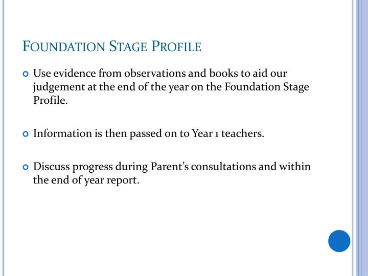 Foundation Stage Profile