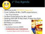 1 st day agenda