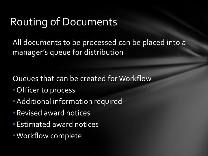 Routing of Documents