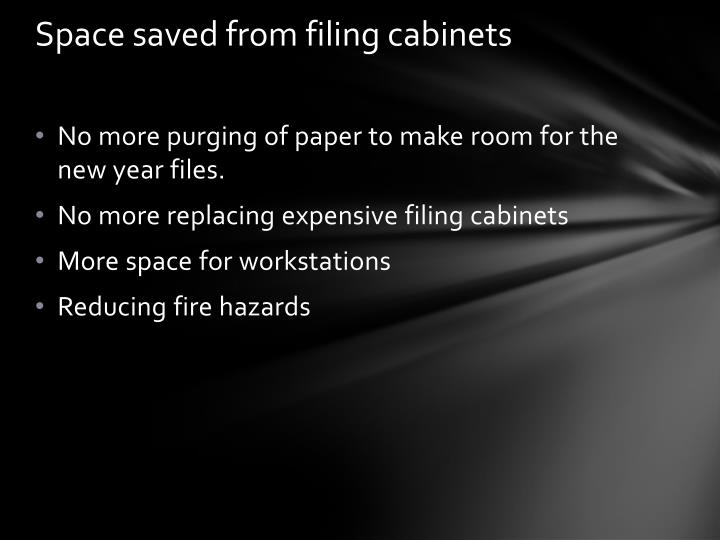 Space saved from filing cabinets