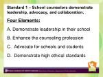 standard 1 school counselors demonstrate leadership advocacy and collaboration