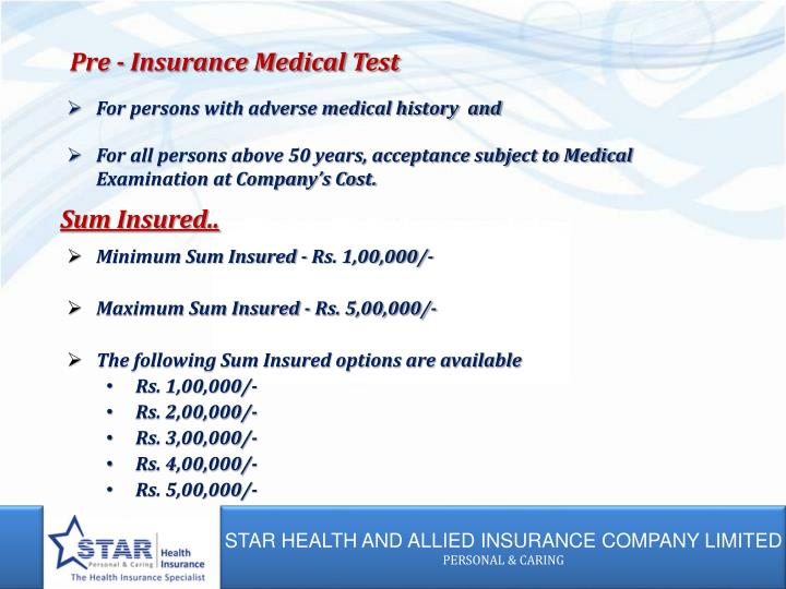 Pre - Insurance Medical Test