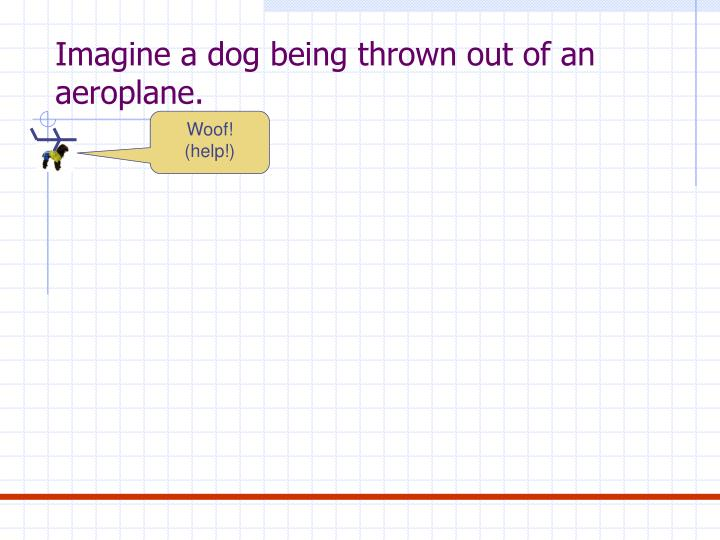 Imagine a dog being thrown out of an aeroplane.