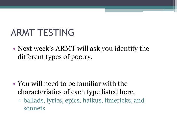 Armt testing