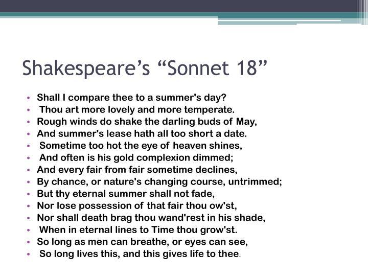 """Shakespeare's """"Sonnet 18"""""""