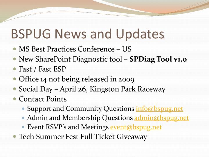 Bspug news and updates
