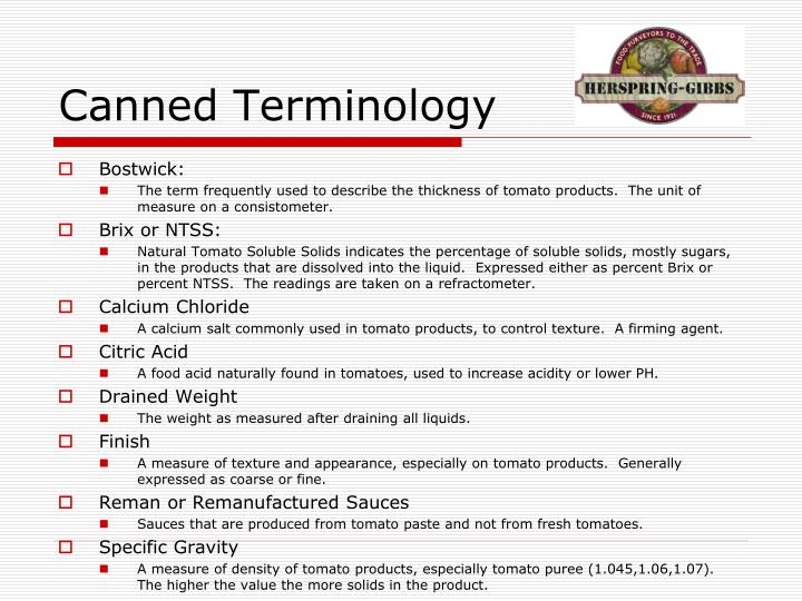 Canned Terminology