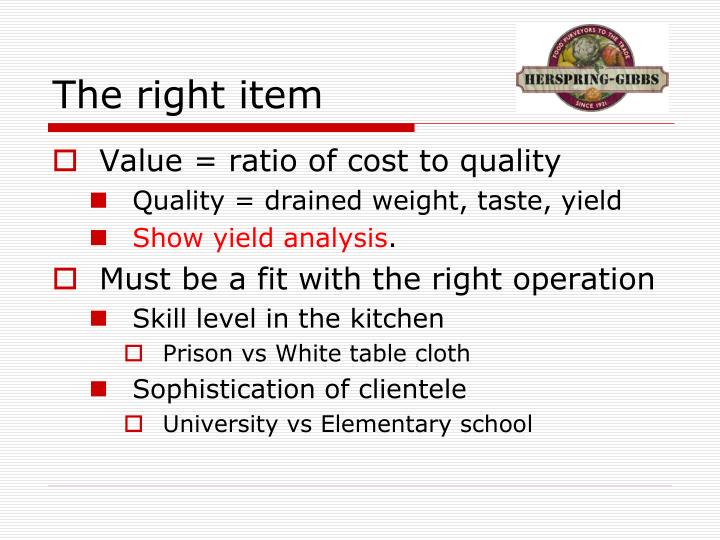 The right item