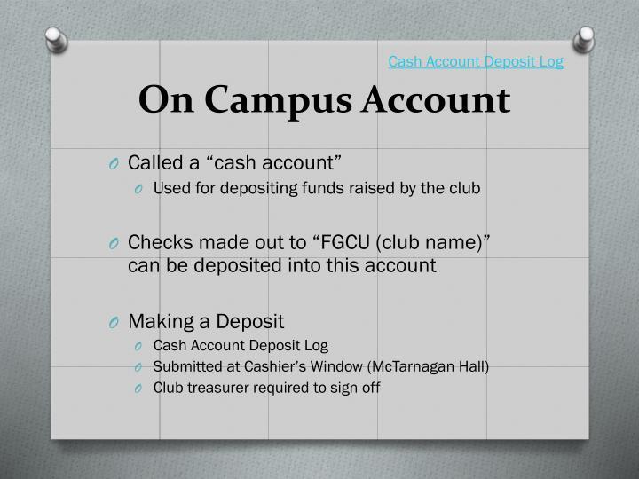 Cash Account Deposit Log