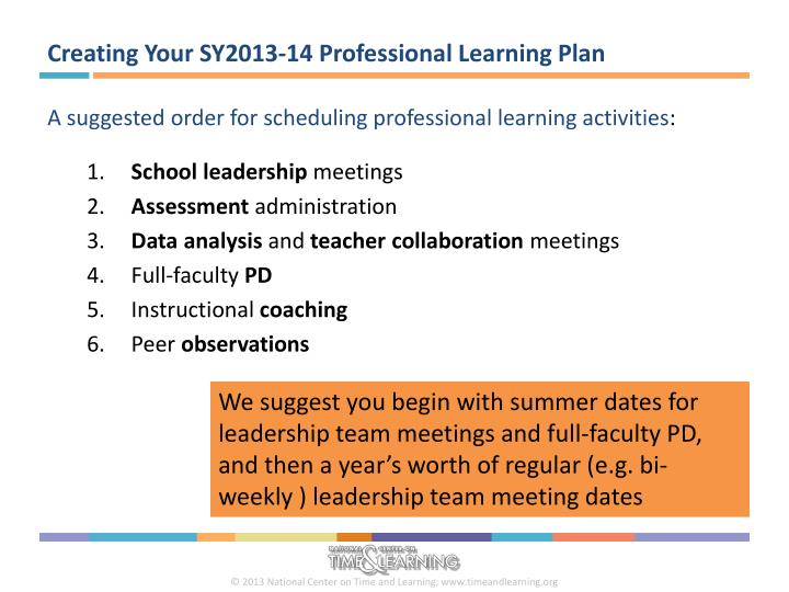 Creating Your SY2013-14 Professional Learning Plan