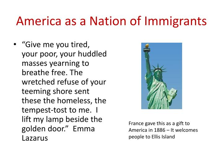 "america as a nation of immigrants essay A nation of immigrants essay this landmark essay on the part of immigrants to american a nation of immigrants"" in 1958 and his words."
