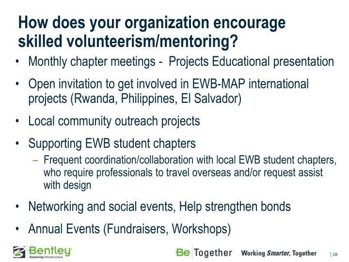 How does your organization encourage skilled volunteerism/mentoring?