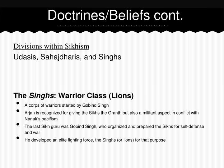Doctrines/Beliefs cont.
