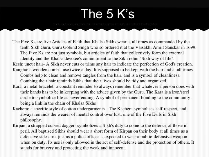 The 5 K's