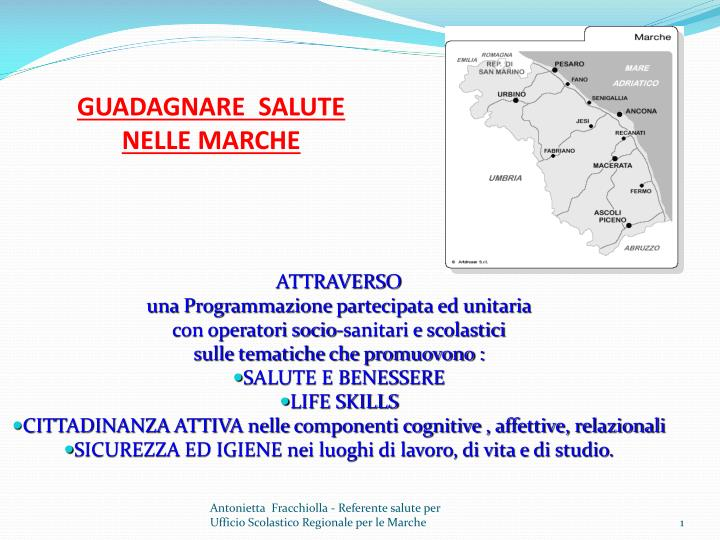 Ppt Guadagnare Salute Nelle Marche Powerpoint Presentation Free Download Id 2636637