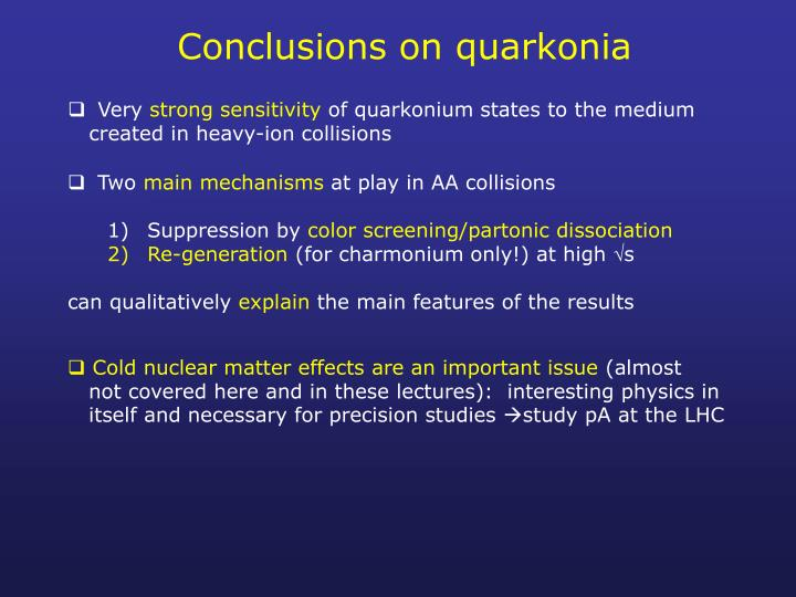 Conclusions on