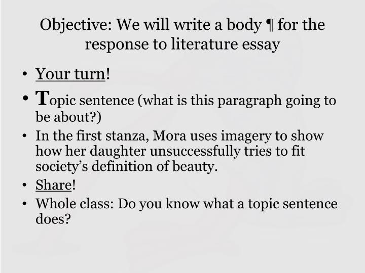 response to literature essay the pearl In a response to literature essay, the writer shows thoughtful comprehension beyond plot and explains underlying meaning beyond text the writer develops an analysis of the literary.