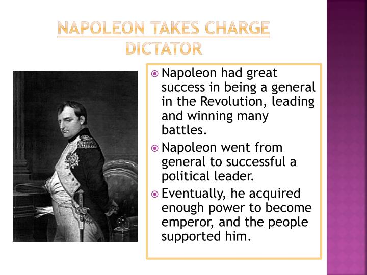 was napoleon a dictator essay Dictator napoleon was born into a noble family in 1769, and showed an interest in the military at an early age in 1785, napoleon set out to become a essay sample the whole doc is available only for registered users open doc.