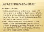 how do we maintain salvation
