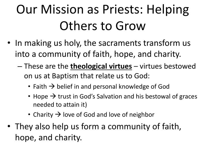 Our Mission as Priests: Helping Others to Grow