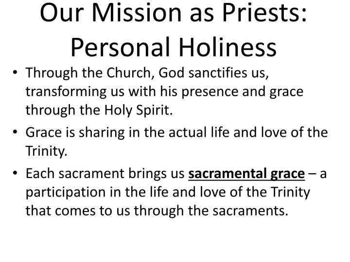 Our Mission as Priests: Personal Holiness