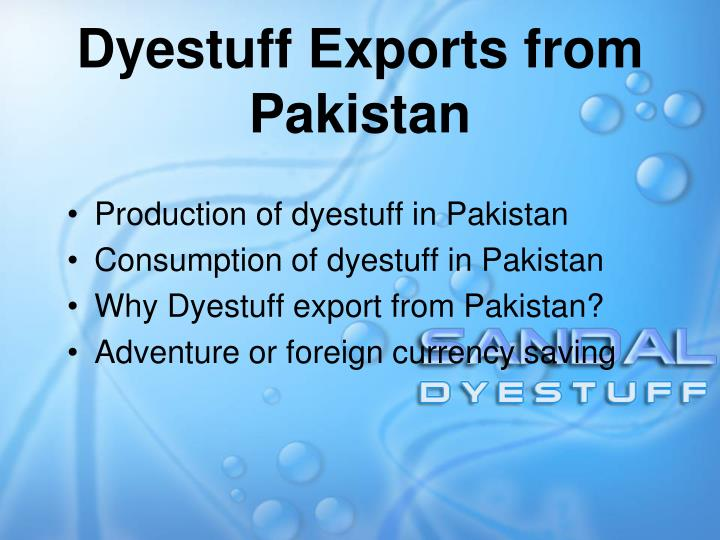Dyestuff exports from pakistan