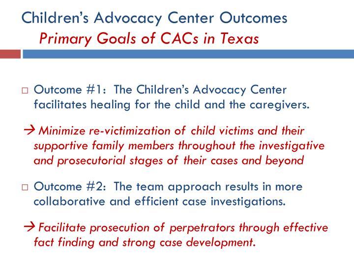 Children's Advocacy Center Outcomes