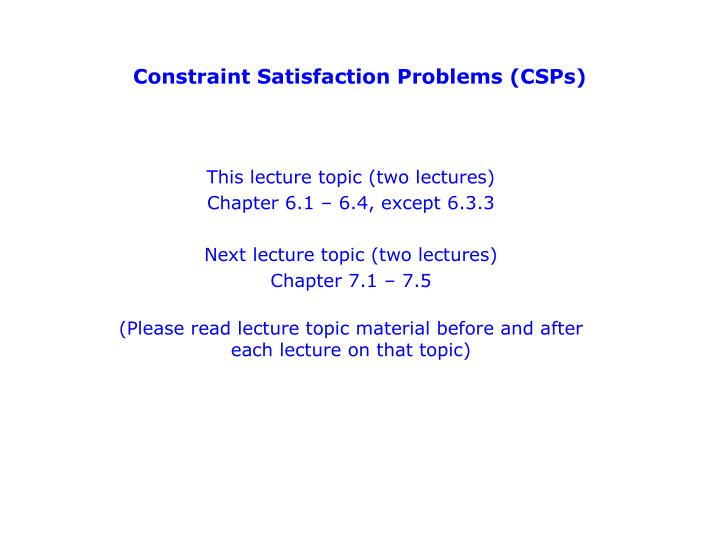 constraint satisfaction problems csps n.