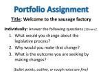 portfolio assignment title welcome to the sausage factory