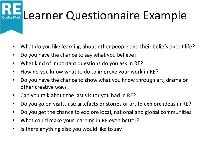 Learner Questionnaire Example