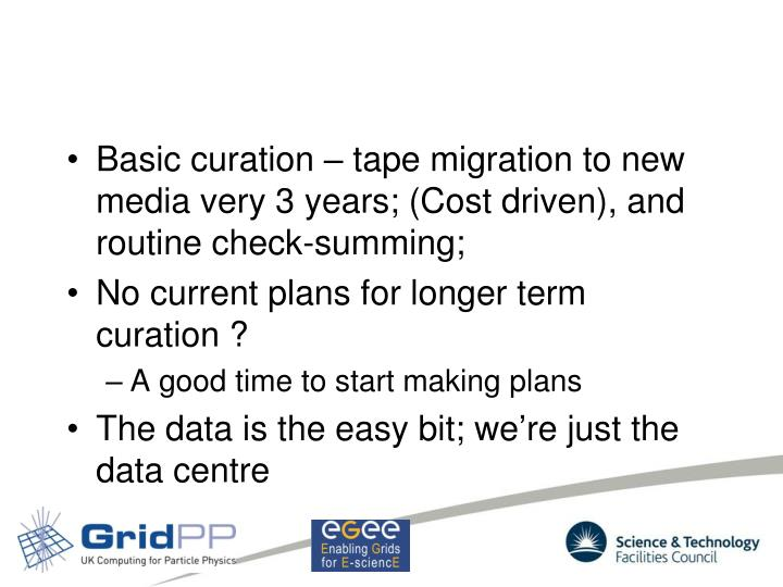 Basic curation – tape migration to new media very 3 years; (Cost driven), and routine check-summing;