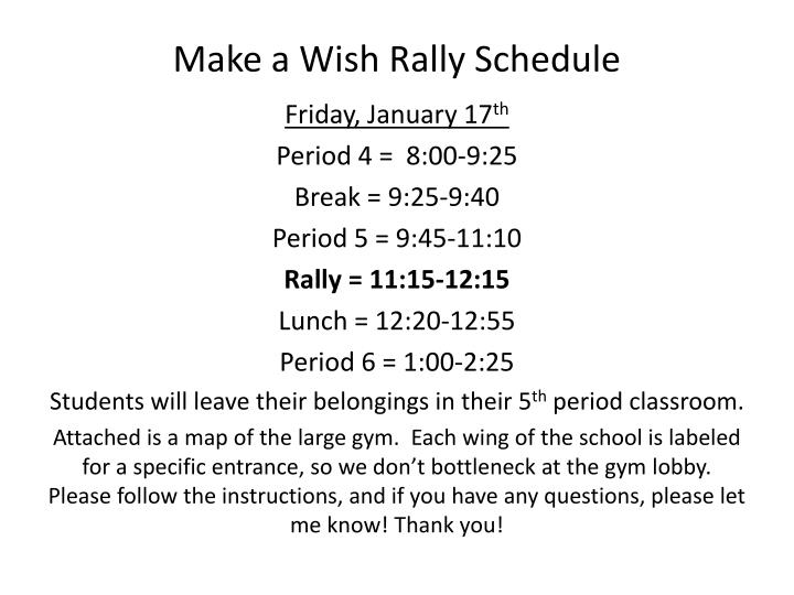 make a wish rally schedule n.