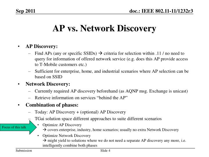 AP vs. Network Discovery