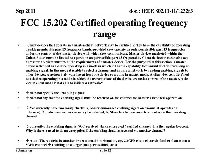 FCC 15.202 Certified operating frequency range