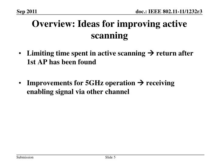 Overview: Ideas for improving active scanning