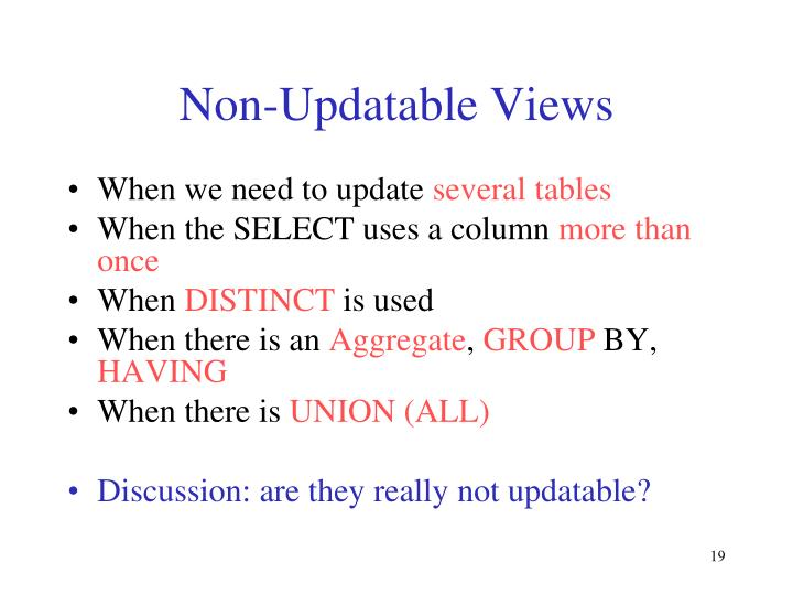 Non-Updatable Views
