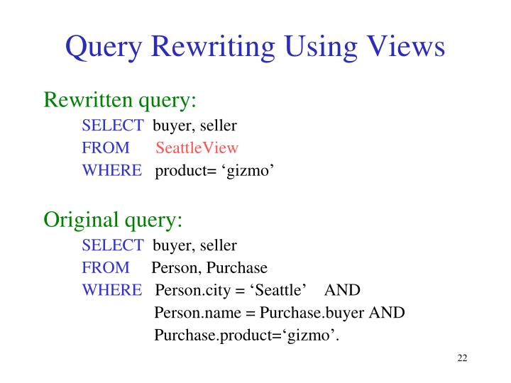 Query Rewriting Using Views