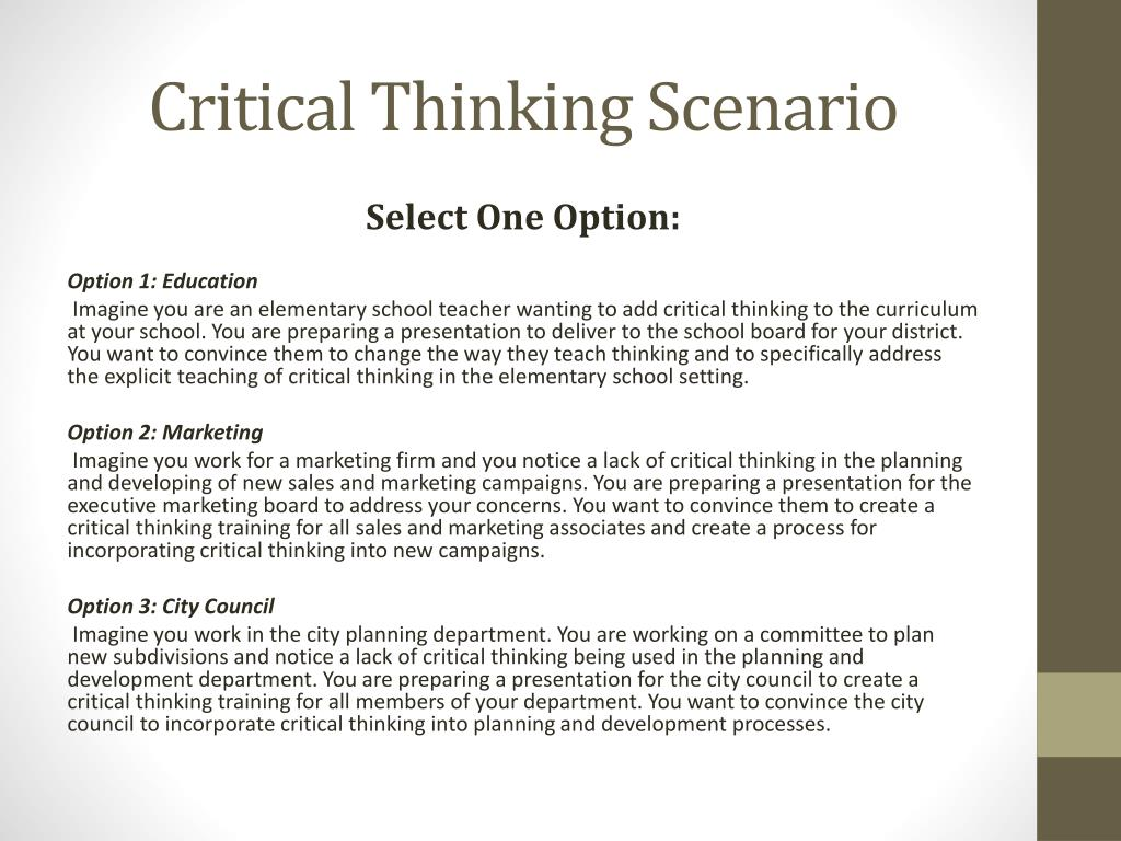 Critical thinking definition for high school students