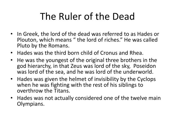 The ruler of the dead
