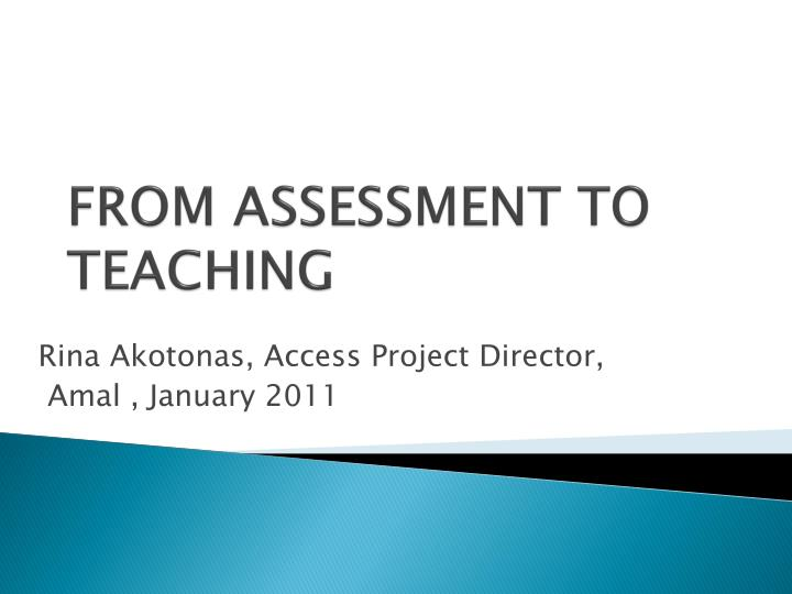 from assessment to teaching n.