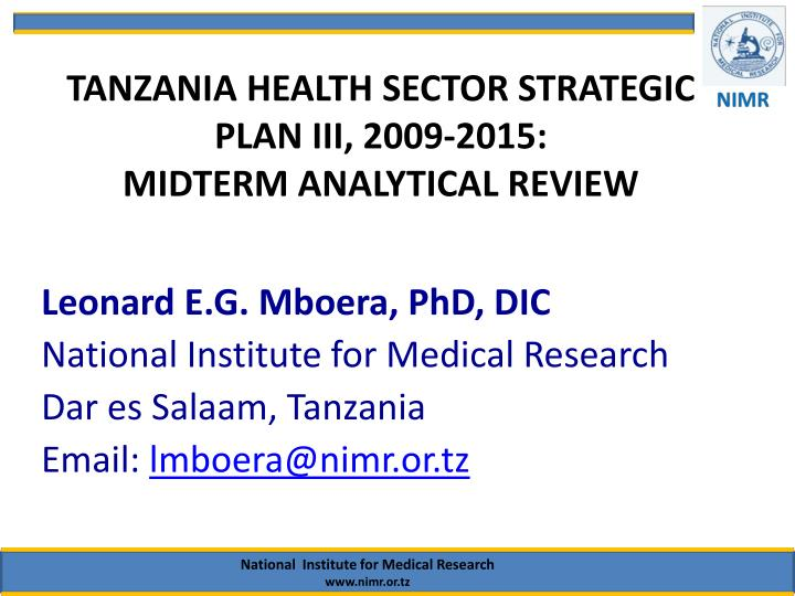 tanzania health sector strategic plan iii 2009 2015 midterm analytical review n.
