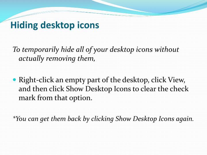 Hiding desktop icons